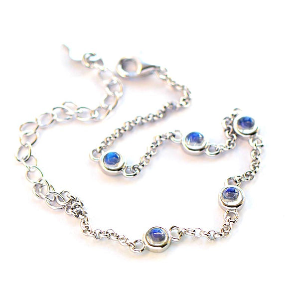 Moonstone Bracelets  in White Gold Plated Sterling Silver June Birthstone Jewelry For Women