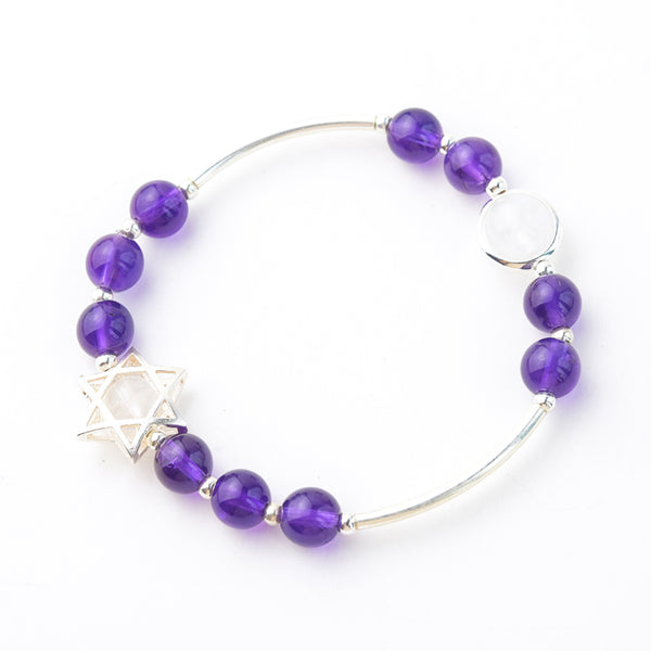 Sterling Silver Amethyst Moonstone Bead Bracelet Jewelry Gifts Women