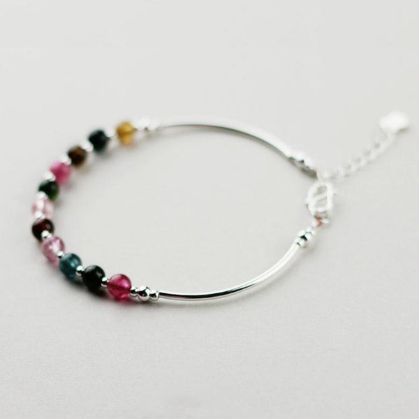 Tourmaline Tiny Bead Bracelet in Sterling Silver Handmade Jewelry Accessories Women