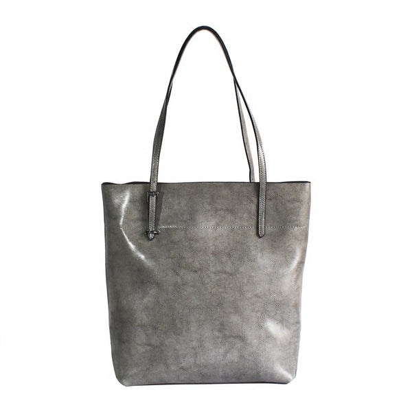 Zip Top Womens Grey Leather Shoulder Tote Bags Purse Handbags for Women