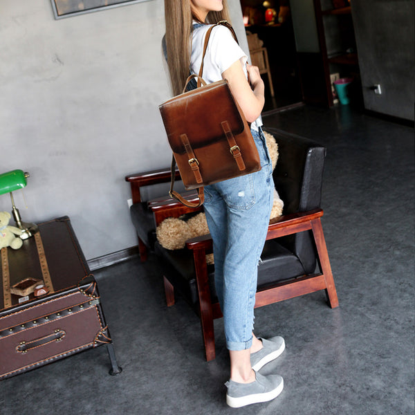 Vintage Womens Brown Leather Backpack Purse Cool Backpacks for Women