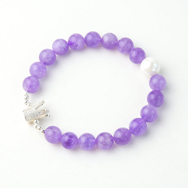 Sterling Silver Crown Amethyst Bead Bracelet Jewelry Gifts For Women