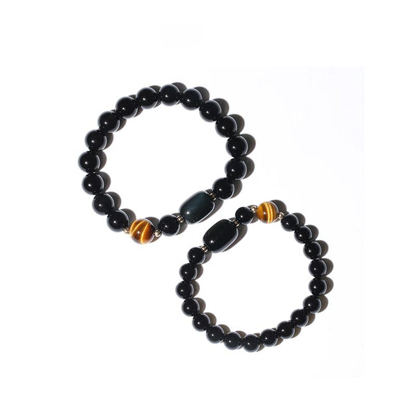 Black Onyx Tigereye Cat's eye Bead Bracelet Lovers Jewelry Women Men
