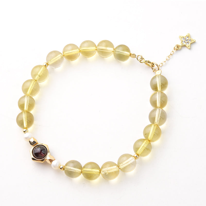 Citrine Garnet Beaded Bracelet Handmade Jewelry Accessories Women