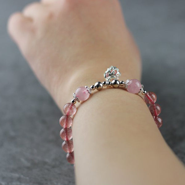 Sterling Silver Strawberry Quartz Crystal Beaded Bracelet Handmade Jewelry for Women