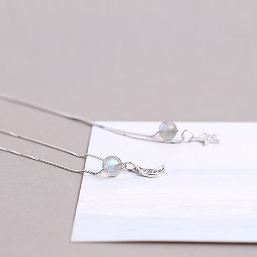 Grey Moonstone Pendant Necklace White Gold Plated Silver Couple Jewelry for Women