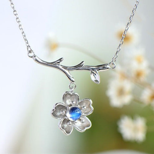 Moonstone Sakura Pendant Necklace in White Gold Plated Silver Jewelry Accessories Women
