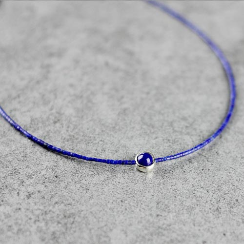 Sterling Silver Lapis Lazuli Bead Choker Necklace Handmade Jewelry Accessories Women