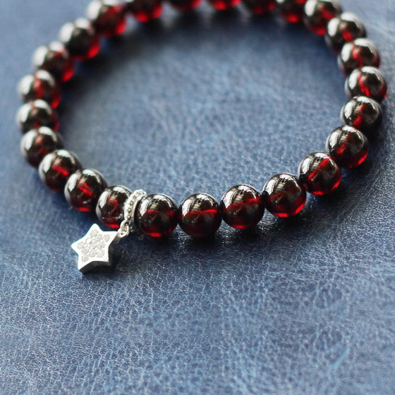 Silver Star Garnet Beaded Bracelet Handmade January Birthstone Jewelry Women