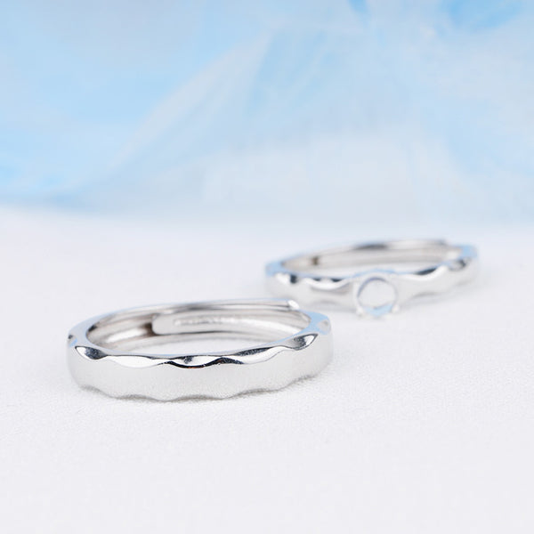 Moonstone Ring in White Gold Plated Silver Couple Jewelry Engage Ring Women Men
