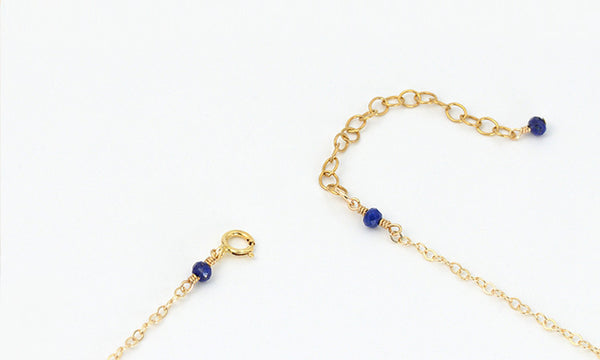 Faceted Lapis Lazuli Bead Pendant Necklace in 14K Gold Handmade Jewelry Women Accessories
