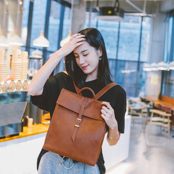 Women's Genuine Leather Backpack Purse Trendy Backpack for Women