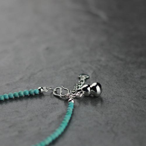 Sterling Silver Turquoise Bead Bracelet Handmade Jewelry Accessories Women