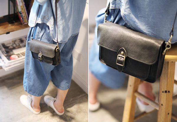 Vintage handmade Genuine Soft Leather Messenger Crossbody Bag Satchel Purses Women fashion
