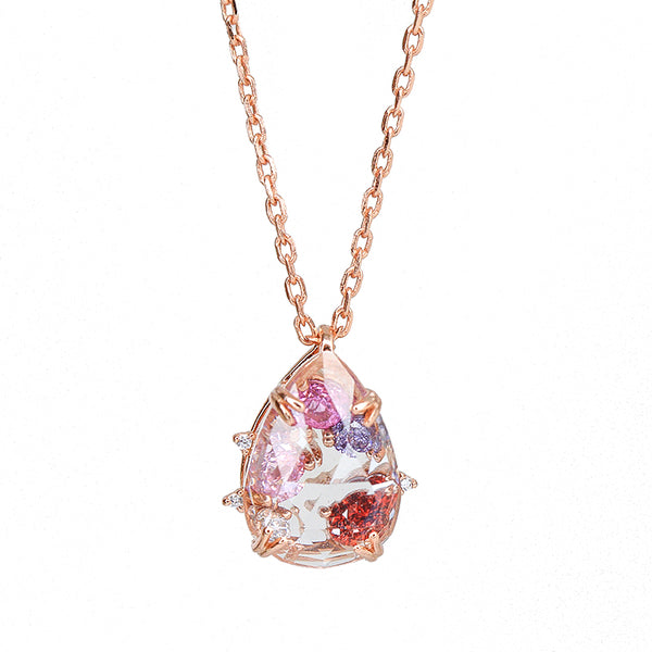 Pink Zircon and White Quartz Crystal Pendant Necklace in Gold Plated Silver Jewelry Women