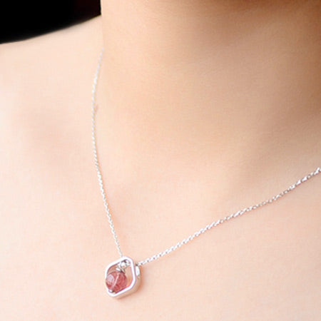 Strawberry Quartz Crystal Pendant Necklace Sterling Silver Jewelry For Women