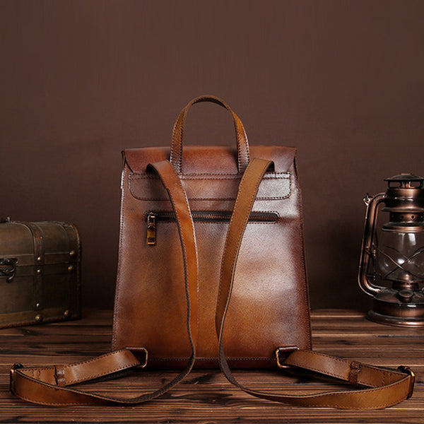 vintage leather backpack bag women laptopbag details