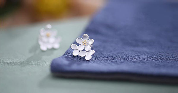 Sterling Silver Flower Stud Earrings Handmade Jewelry Gifts Accessories for Women