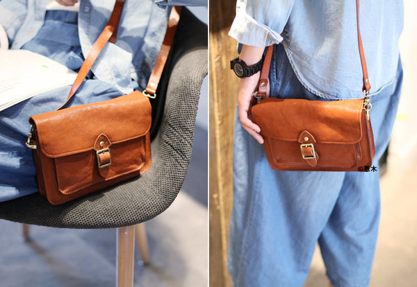 Vintage handmade Genuine Soft Leather Messenger Crossbody Bag Satchel Purses Women cute
