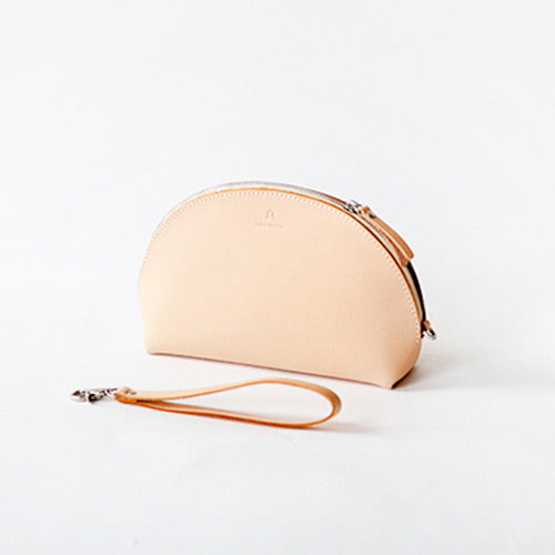 Handmade Leather Half-Round Handbag Circle Leather Bags Purse women