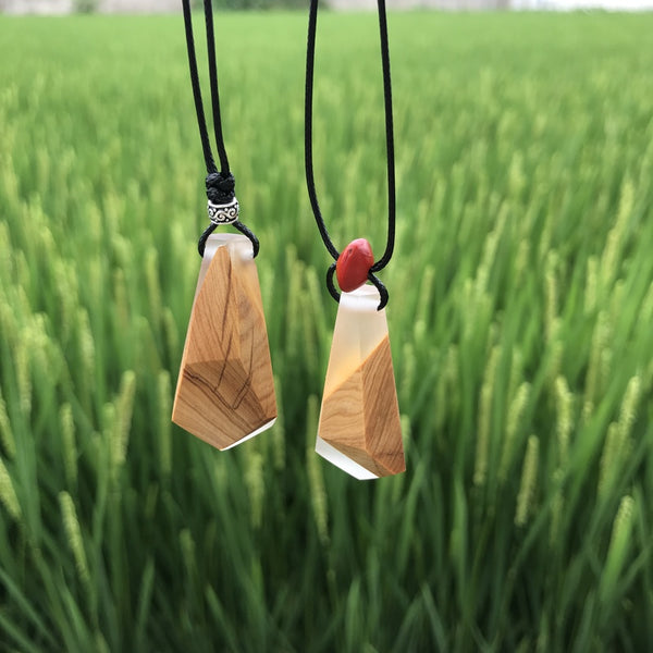 Resin Wood Pendant Necklace Handmade Jewelry  Accessories Women Men
