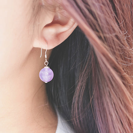 Amethyst Bead Drop Earrings Handmade Jewelry Accessories Women wear