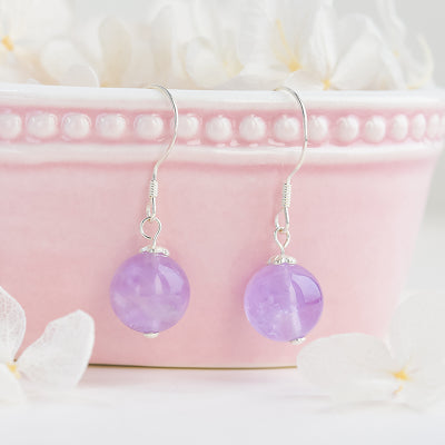 Amethyst Bead Drop Earrings Handmade Jewelry Accessories Women