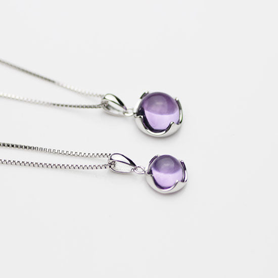 Amethyst Pendant Necklace in Silver Gemstone Jewelry Accessories Women