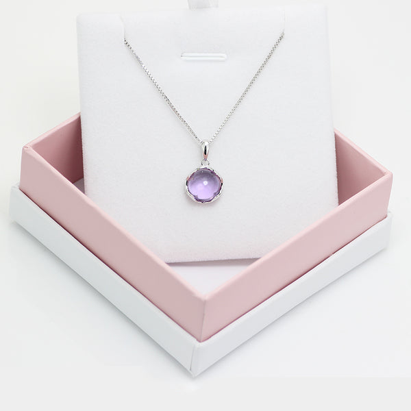 Amethyst Pendant Necklace Gold Silver Gemstone Jewelry Accessories Women beautiful