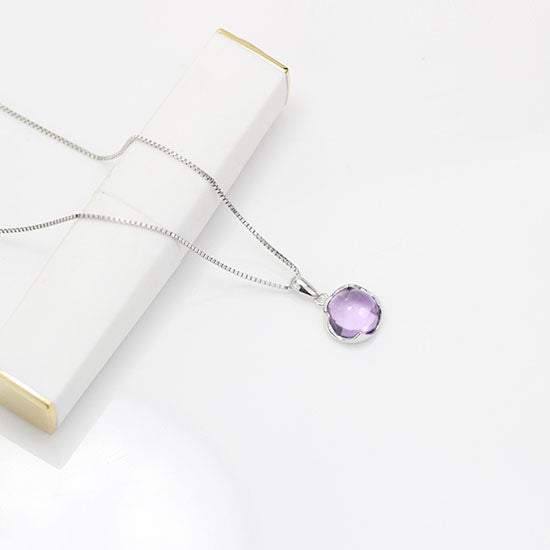 Amethyst Pendant Necklace Gold Silver Gemstone Jewelry Accessories Women charming