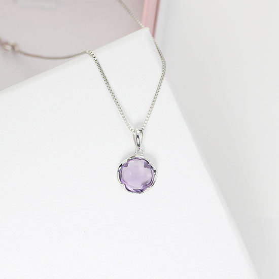 Amethyst Pendant Necklace Gold Silver Gemstone Jewelry Accessories Women cute