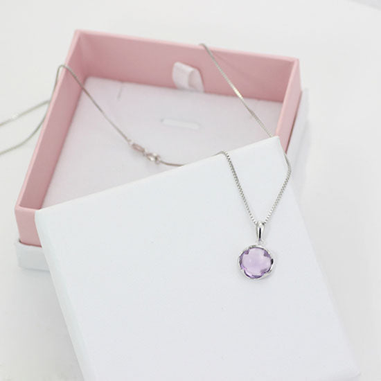 Amethyst Pendant Necklace Gold Silver Gemstone Jewelry Accessories Women purple