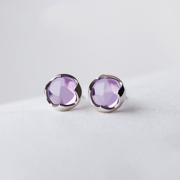 Amethyst Stud Earrings Silver Handmade Jewelry Accessories Women gift