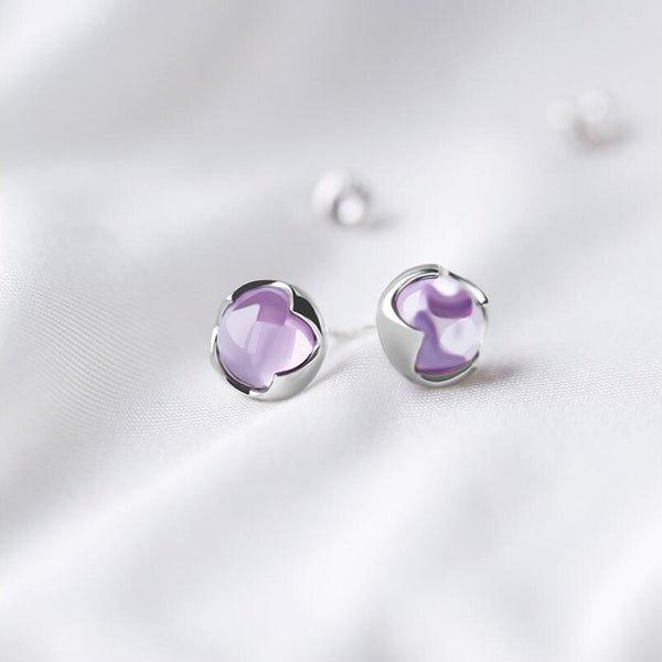 Amethyst Stud Earrings Silver Handmade Jewelry Accessories Women girls