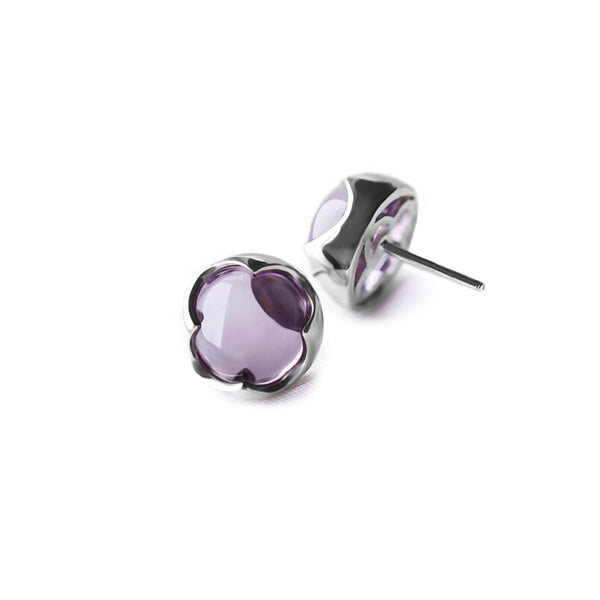 Amethyst Stud Earrings Silver Handmade Jewelry Accessories Women purple