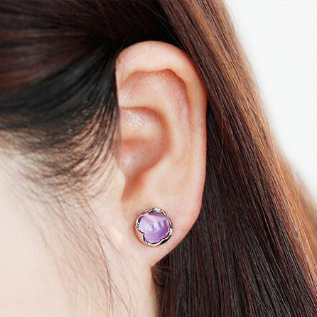 Amethyst Stud Earrings Silver Handmade Jewelry Accessories Women wear