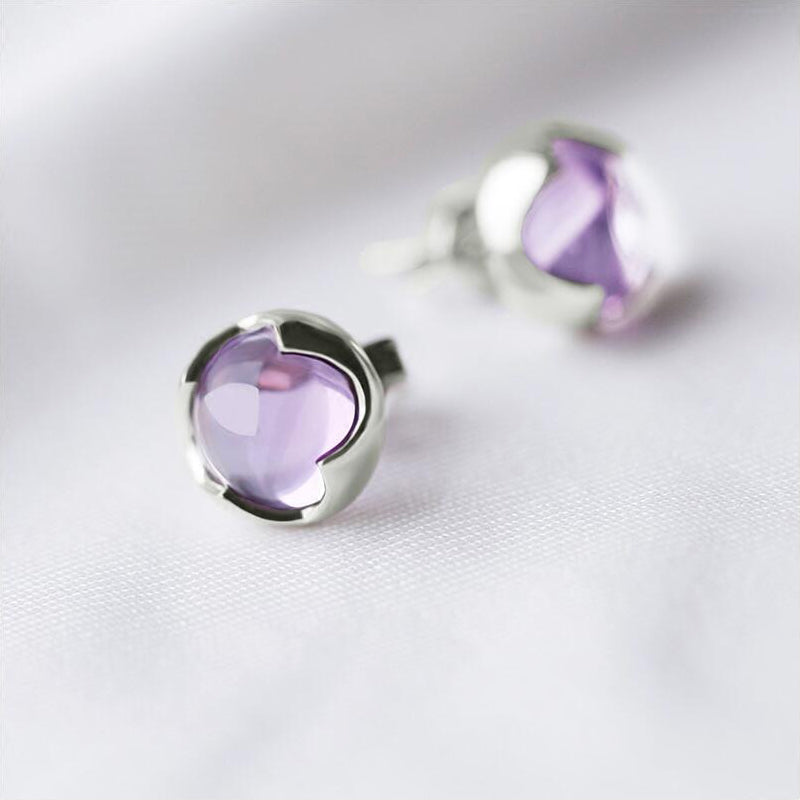 Amethyst Stud Earrings Silver Handmade Jewelry Accessories Women
