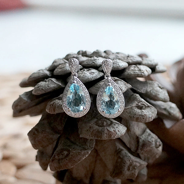 Aquamarine Drop Earrings March Birthstone Jewelry