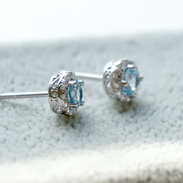 Aquamarine Earrings Diamond March Birthstone Blue Gems Jewelry
