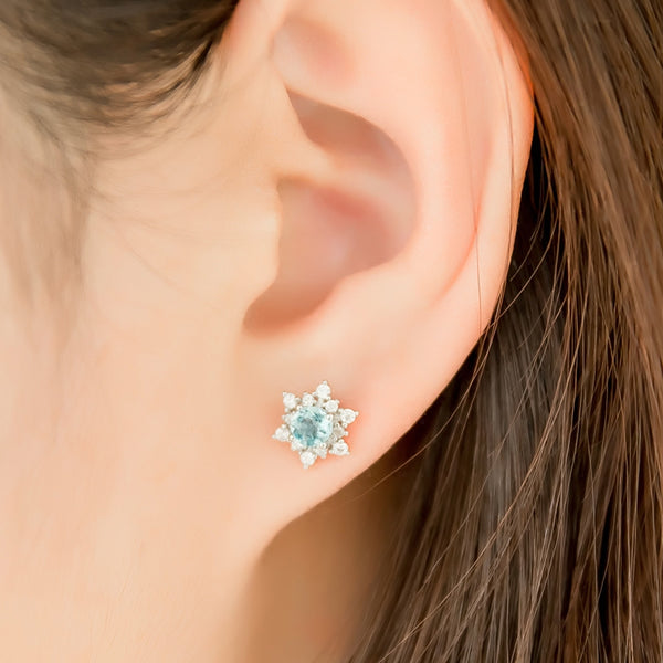 Aquamarine Earrings March Birthstone Jewelry White Gold
