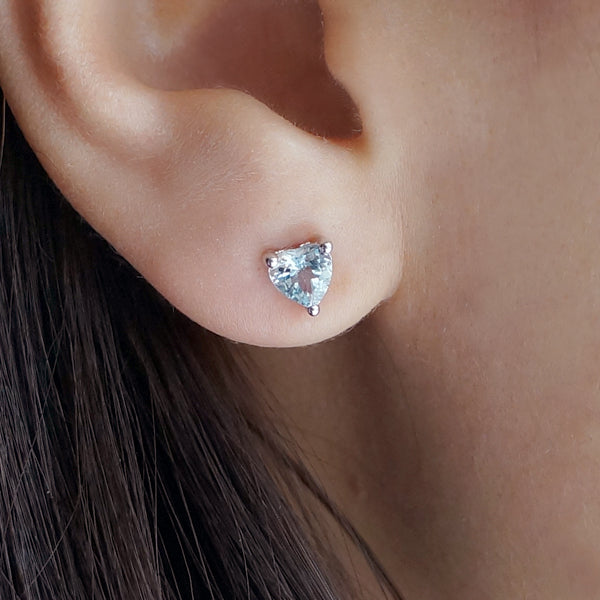 Aquamarine Stud Earrings March Birthstone Models wearing figure