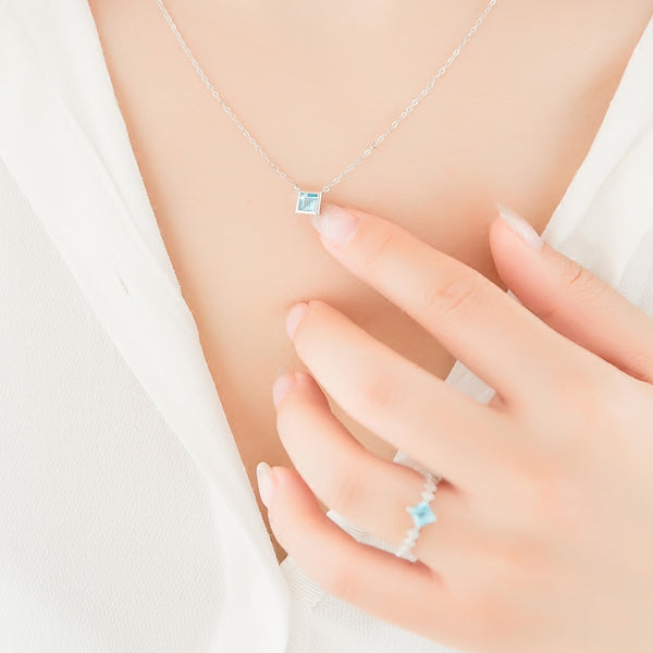 Blue Aquamarine Pendant Necklace in 18K White Gold Plated Sterling Silver For Women