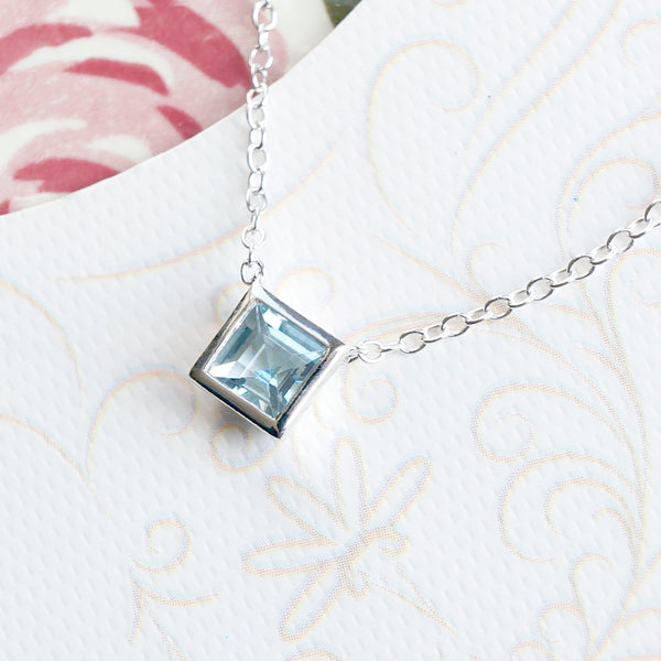 Aquamarine Necklace March Birthstone Sterling Silver
