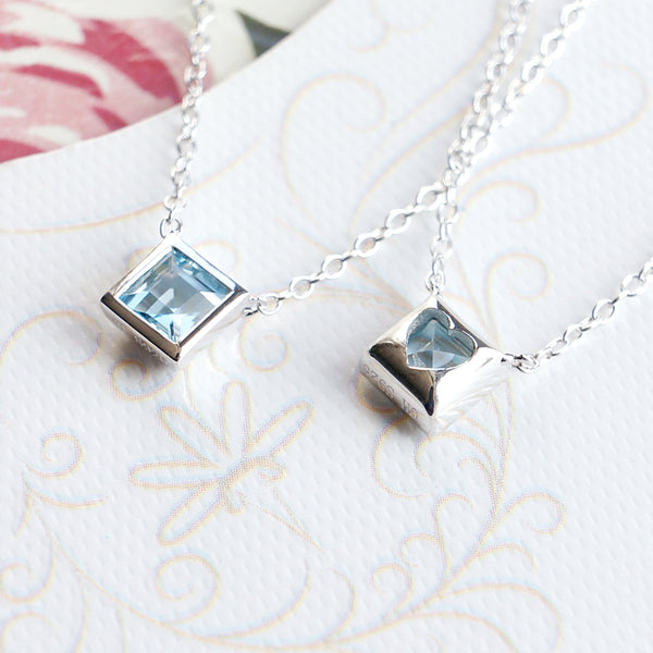 Aquamarine Pendant Necklace March Birthstone 18K White Gold