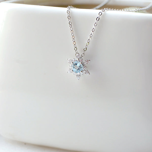Aquamarine Snowflake Pendant Necklace with Diamond Halo in White Gold   Plated Sterling Silver For Women
