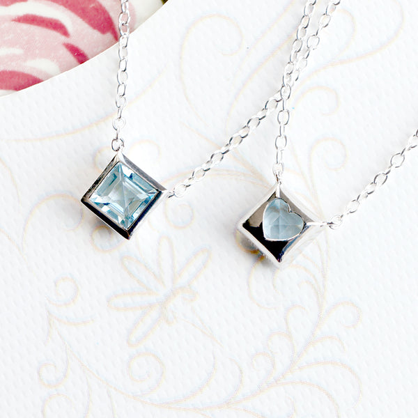 Aquamarine Pendant Necklace March Birthstone back of the gem