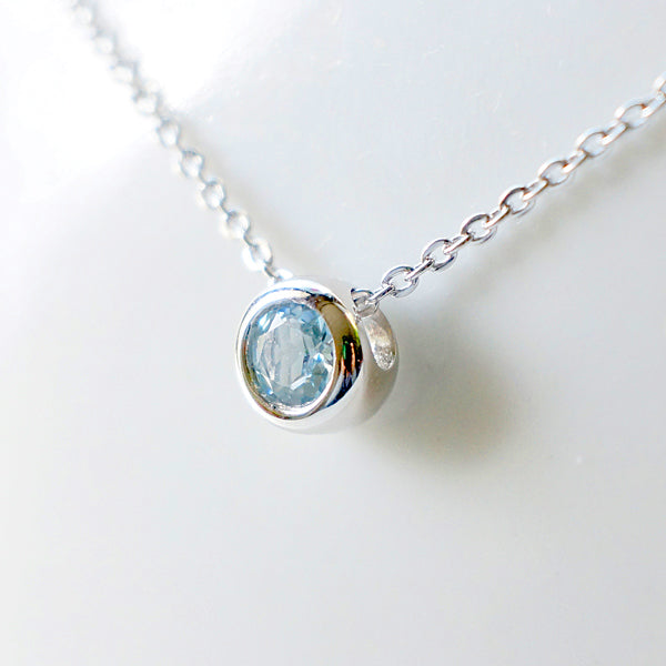 Aquamarine Garnet Diopside Pendant Necklace in 18K White Gold Plated Sterling Silver For Women