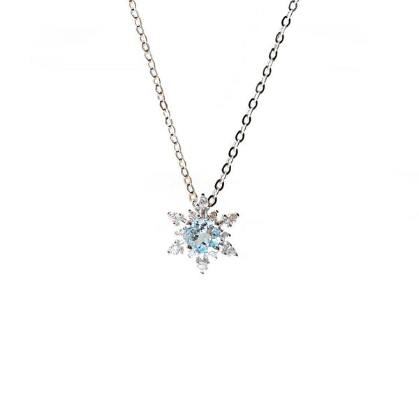 Aquamarine Snowflake Pendant Necklace March Birthstone Jewelry