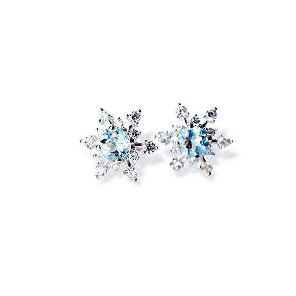 Aquamarine Snowflake Stud Earrings March Birthstone Jewelry