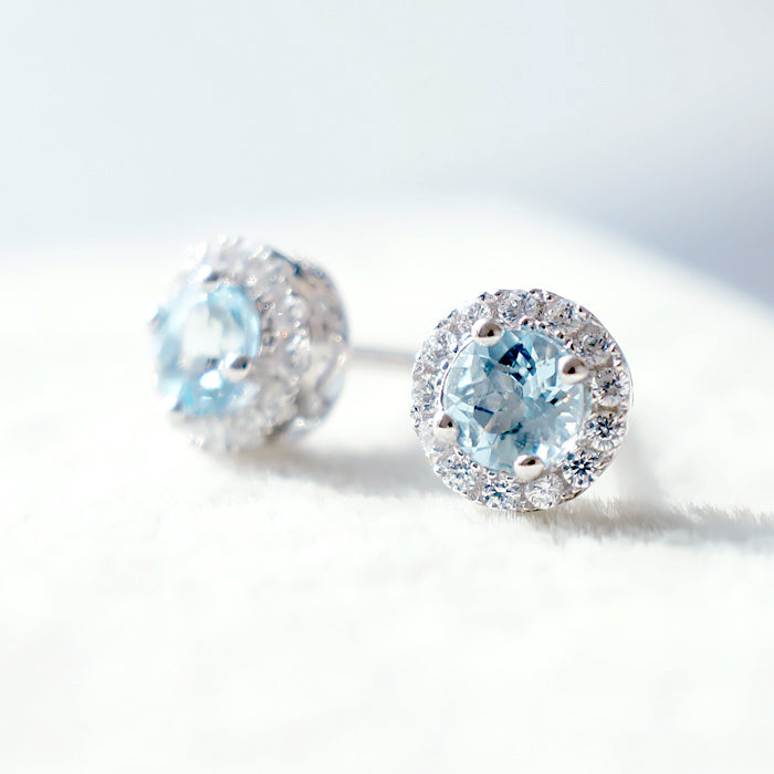 Aquamarine Stud Earrings March Birthstone Blue Gems Jewel